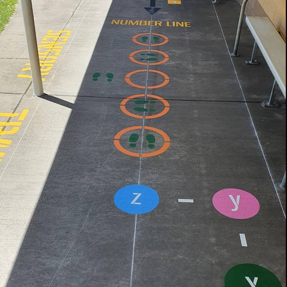 Playground games painted on the ground for use